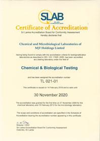 Chemical Laboratory Accreditation Certificate
